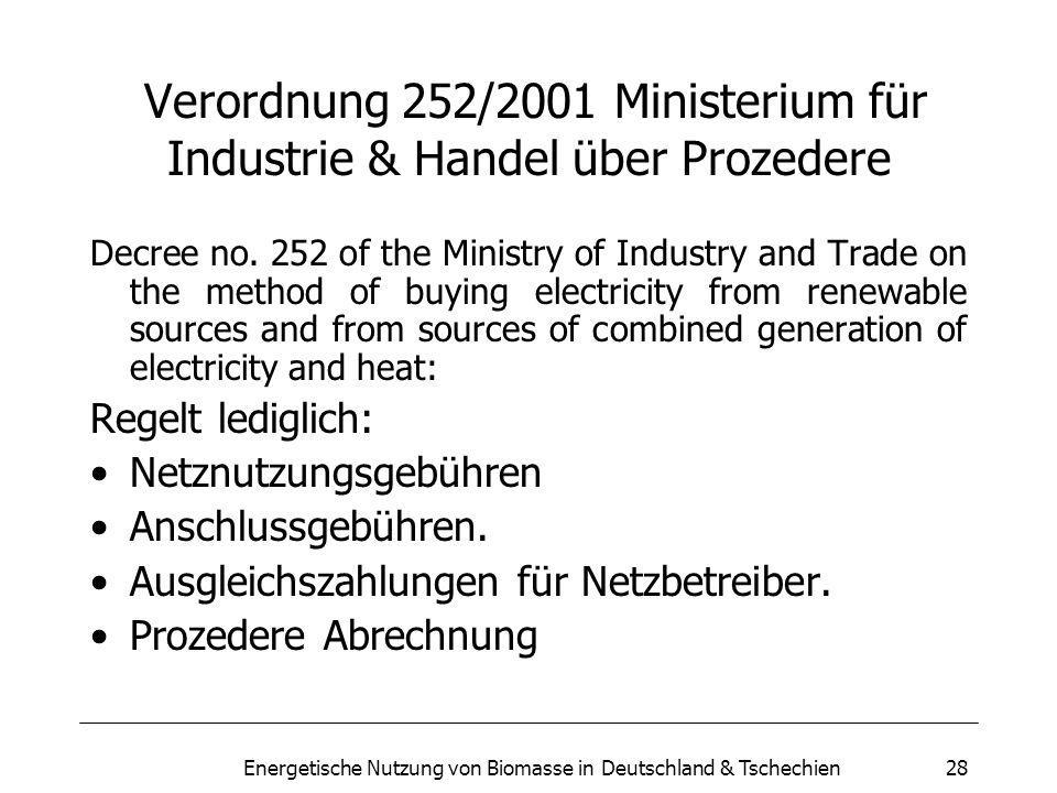 Verordnung 252/2001 Ministerium für Industrie & Handel über Prozedere
