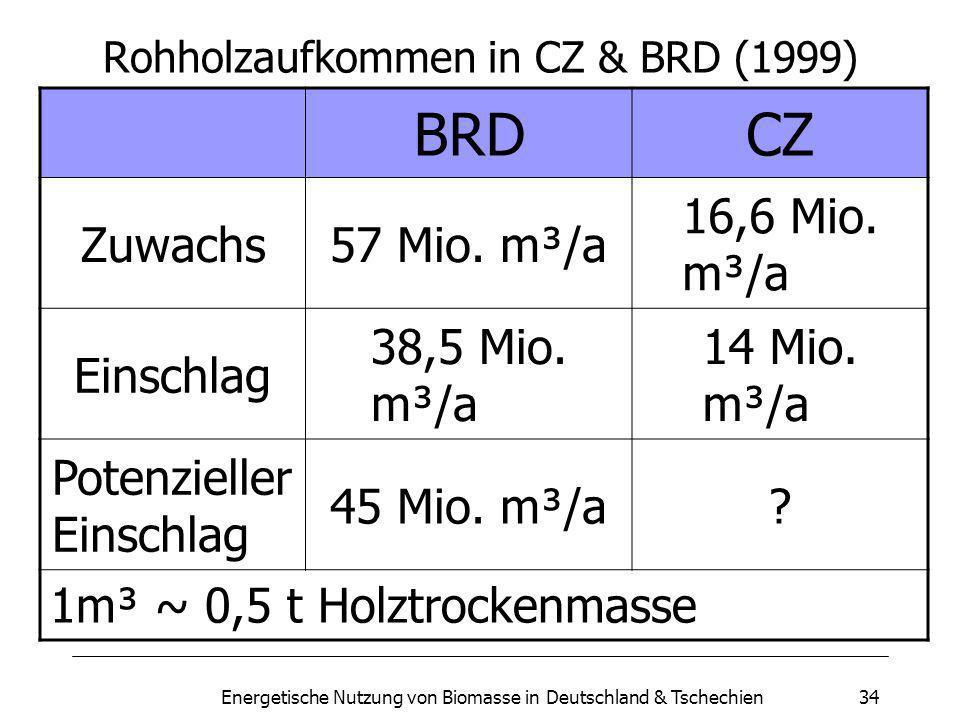 Rohholzaufkommen in CZ & BRD (1999)