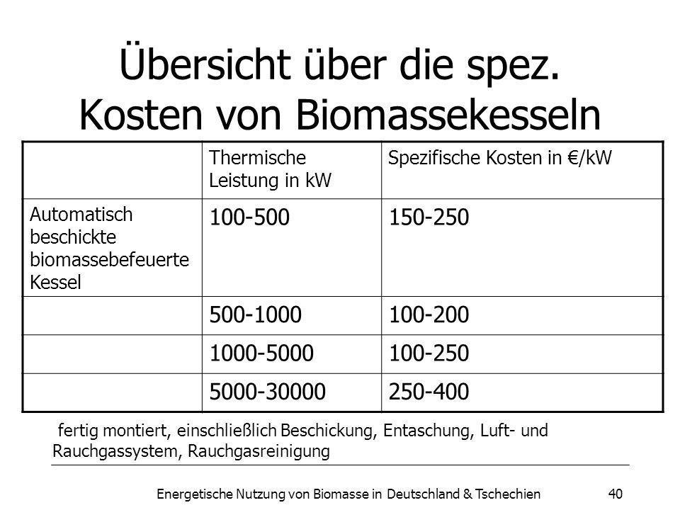 Übersicht über die spez. Kosten von Biomassekesseln
