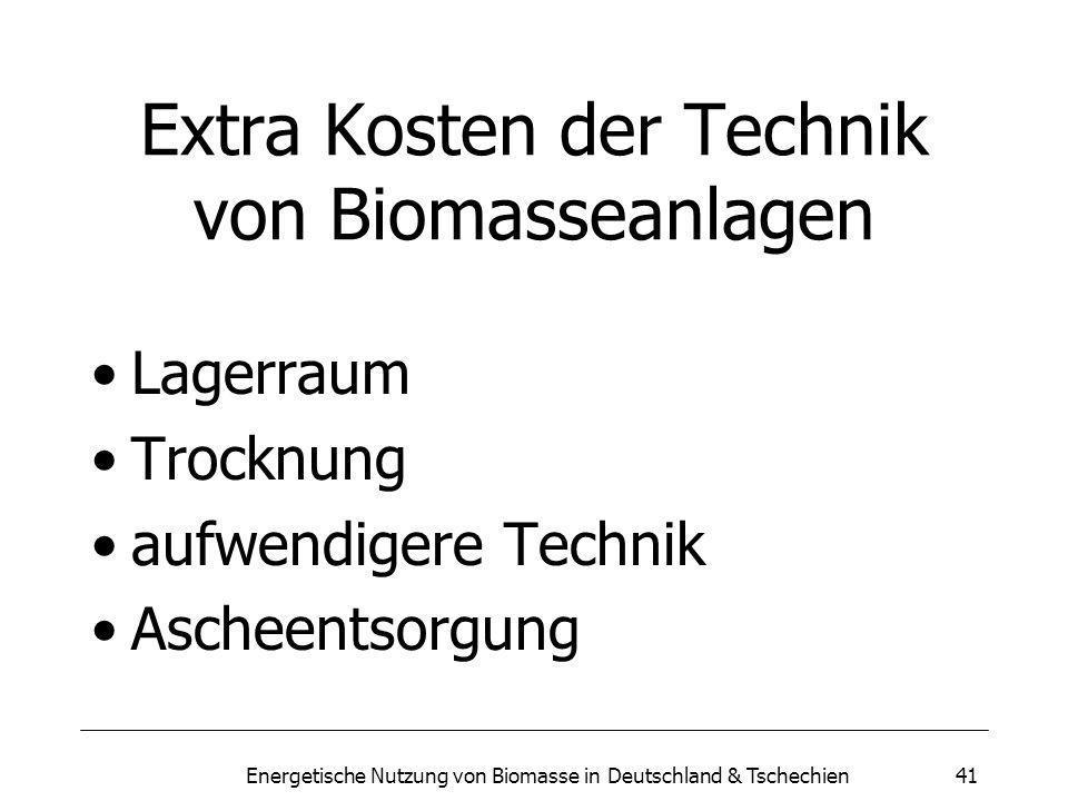 Extra Kosten der Technik von Biomasseanlagen