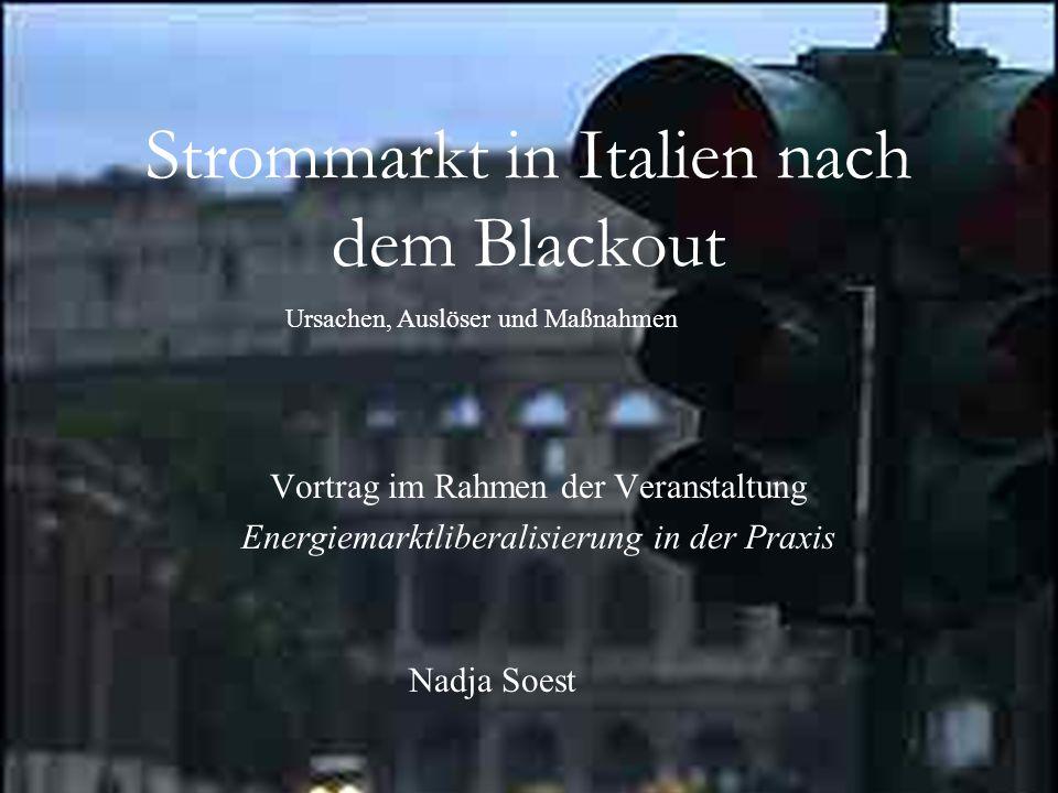 Strommarkt in Italien nach dem Blackout