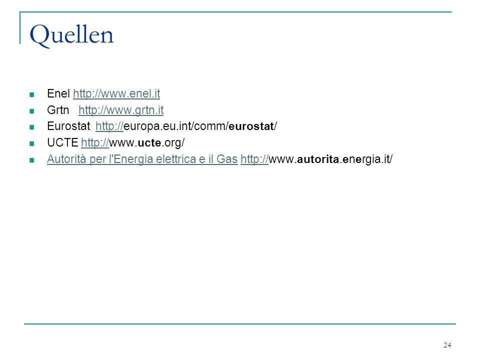 Quellen Enel http://www.enel.it Grtn http://www.grtn.it