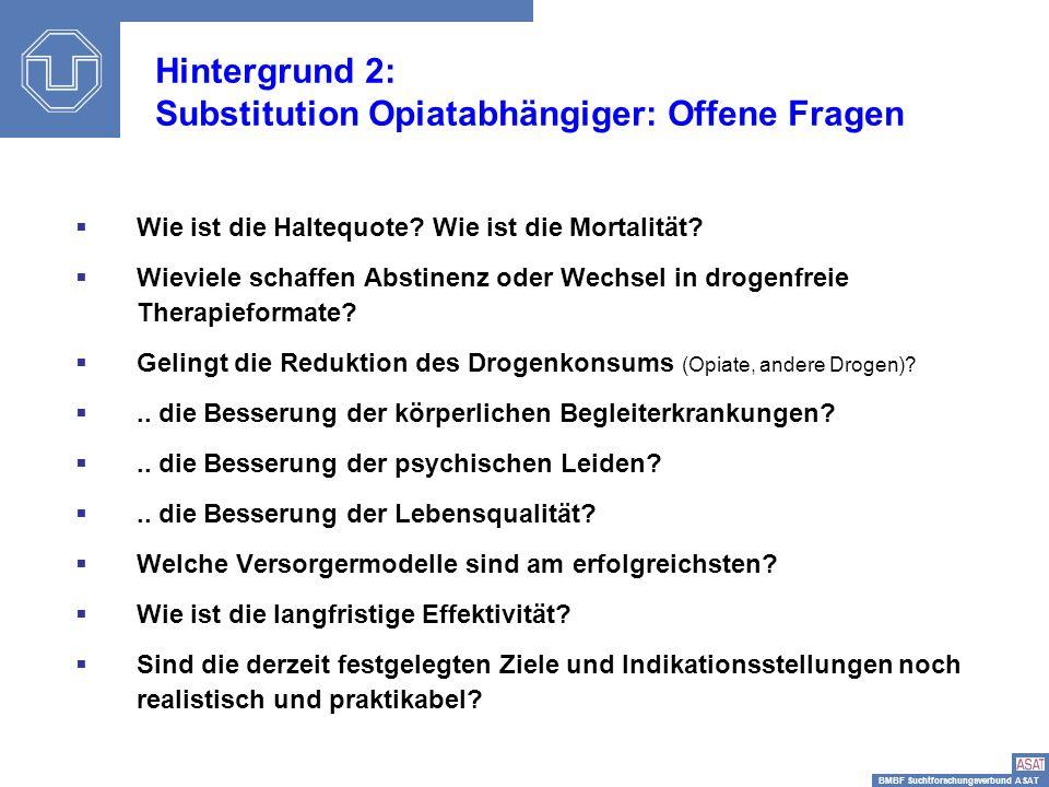 Hintergrund 2: Substitution Opiatabhängiger: Offene Fragen