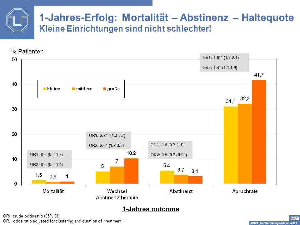 1-Jahres-Erfolg: Mortalität – Abstinenz – Haltequote