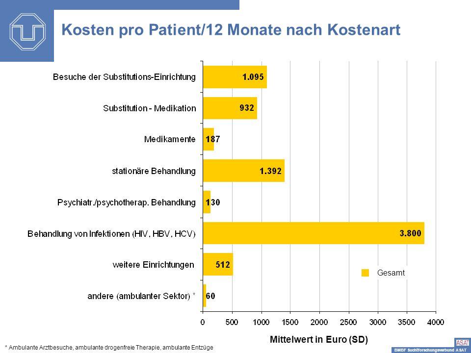 Kosten pro Patient/12 Monate nach Kostenart