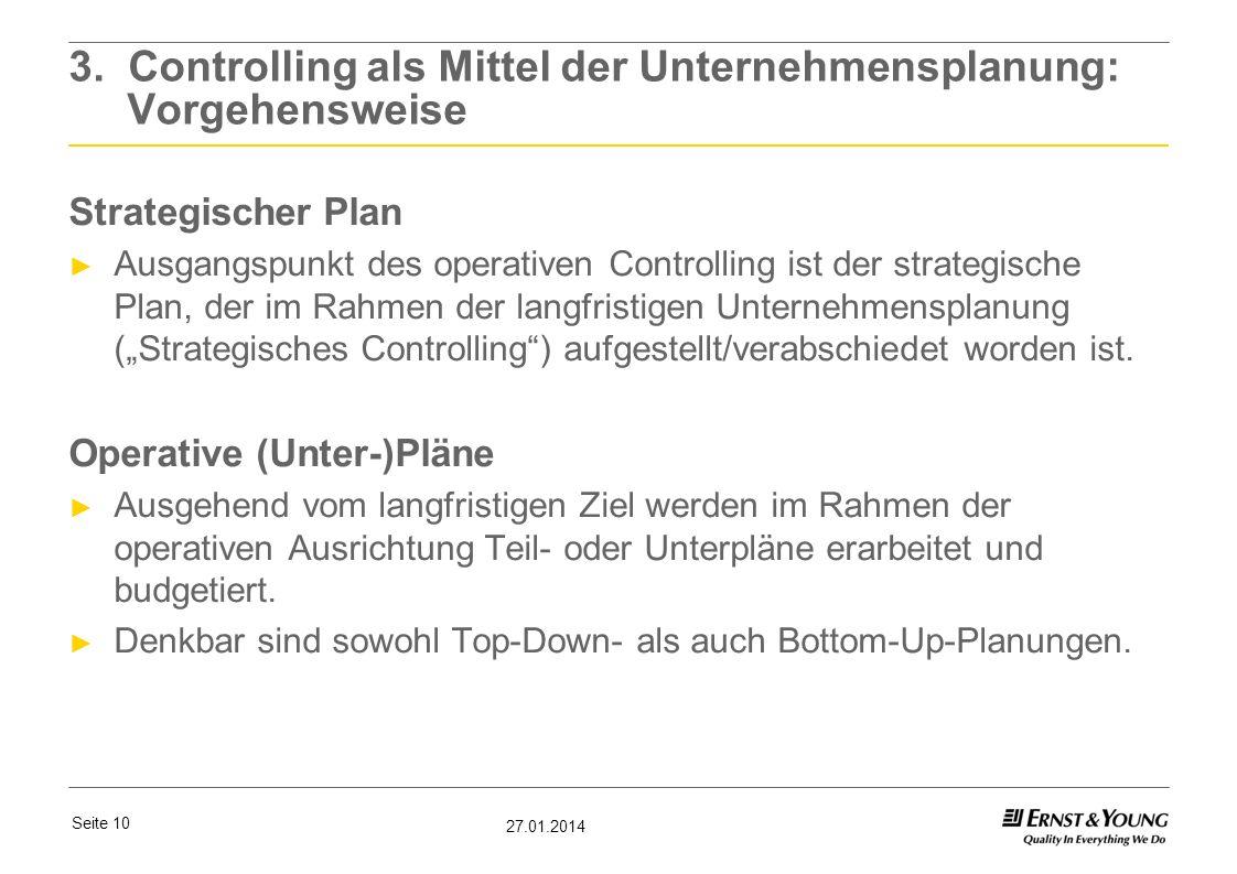 3. Controlling als Mittel der Unternehmensplanung: Vorgehensweise