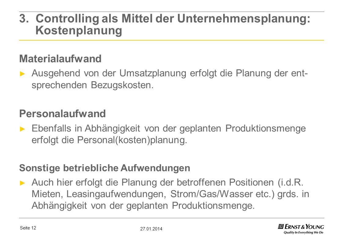 3. Controlling als Mittel der Unternehmensplanung: Kostenplanung