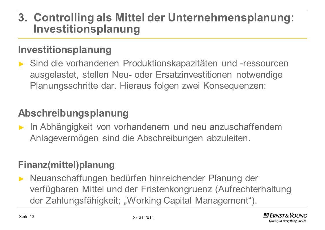 3. Controlling als Mittel der Unternehmensplanung: Investitionsplanung