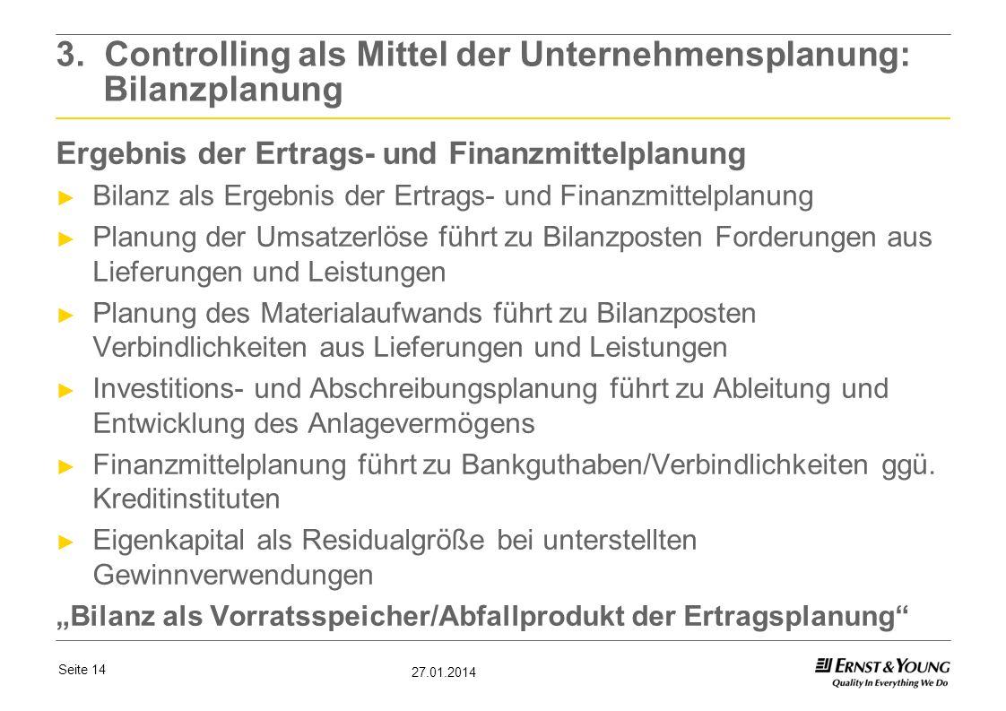 3. Controlling als Mittel der Unternehmensplanung: Bilanzplanung