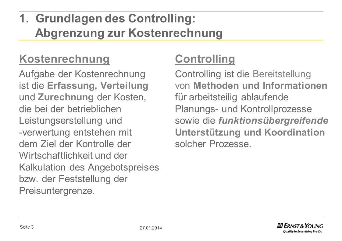 1. Grundlagen des Controlling: Abgrenzung zur Kostenrechnung