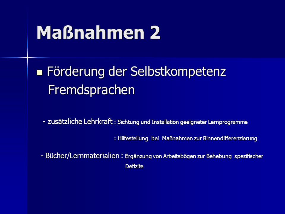 Maßnahmen 2 Förderung der Selbstkompetenz Fremdsprachen