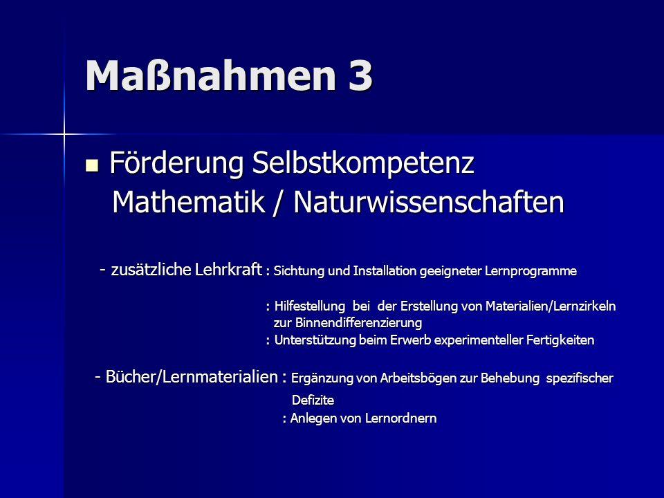 Maßnahmen 3 Förderung Selbstkompetenz Mathematik / Naturwissenschaften