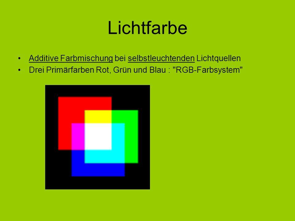 Lichtfarbe Additive Farbmischung bei selbstleuchtenden Lichtquellen