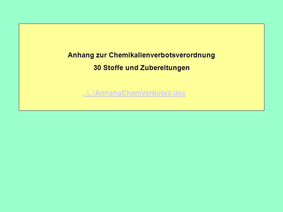 Anhang zur Chemikalienverbotsverordnung 30 Stoffe und Zubereitungen