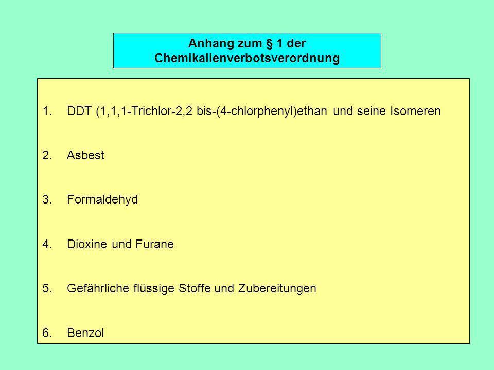 Anhang zum § 1 der Chemikalienverbotsverordnung