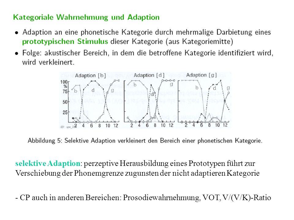 selektive Adaption: perzeptive Herausbildung eines Prototypen führt zur Verschiebung der Phonemgrenze zugunsten der nicht adaptieren Kategorie
