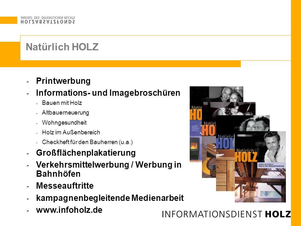 Natürlich HOLZ Printwerbung Informations- und Imagebroschüren
