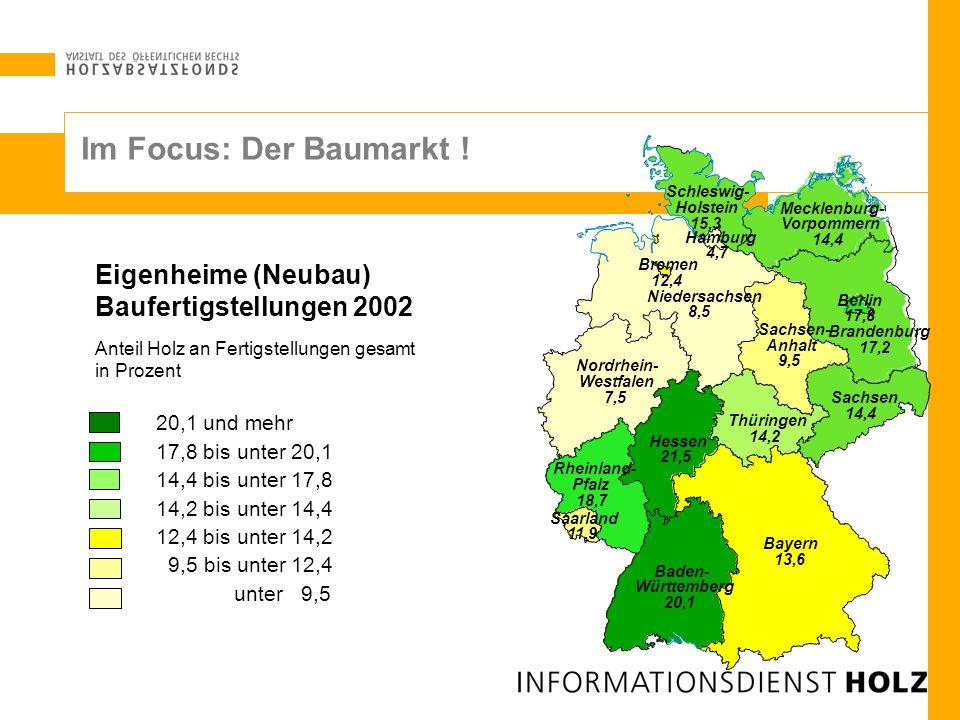 Im Focus: Der Baumarkt ! Schleswig- Holstein. Mecklenburg- 15,3. Vorpommern. Hamburg. 14,4. 4,7.