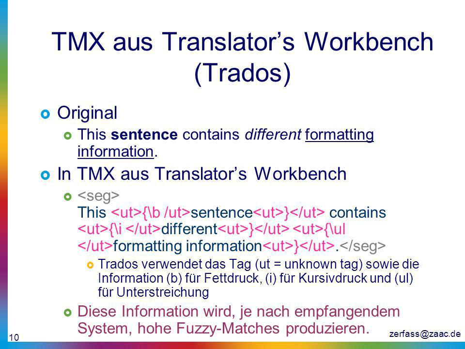 TMX aus Translator's Workbench (Trados)