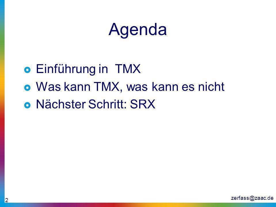 Agenda Einführung in TMX Was kann TMX, was kann es nicht