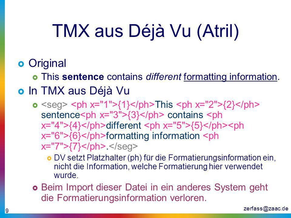 TMX aus Déjà Vu (Atril) Original In TMX aus Déjà Vu
