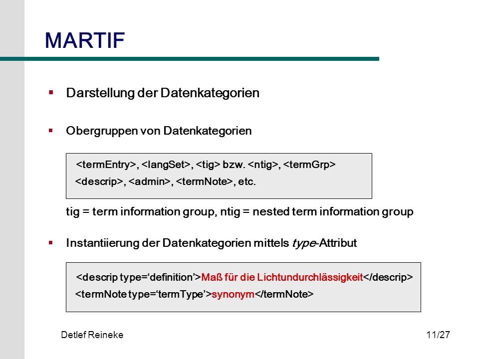 MARTIF Darstellung der Datenkategorien Obergruppen von Datenkategorien