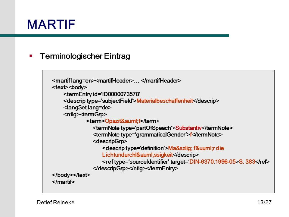 MARTIF Terminologischer Eintrag