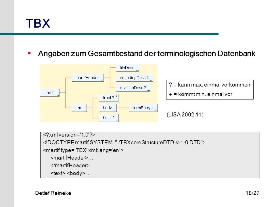 TBX Angaben zum Gesamtbestand der terminologischen Datenbank