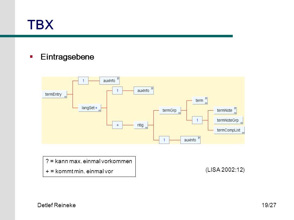 TBX Eintragsebene = kann max. einmal vorkommen