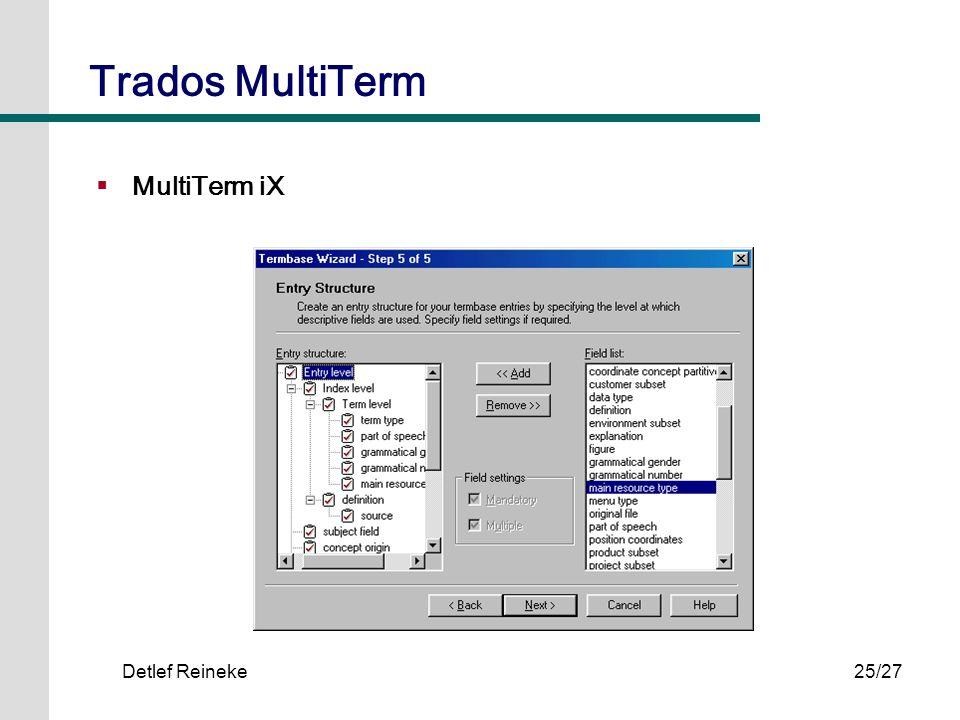 Trados MultiTerm MultiTerm iX Detlef Reineke