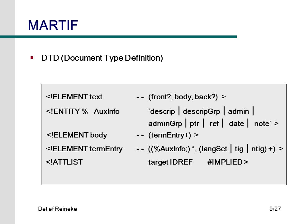 MARTIF DTD (Document Type Definition)