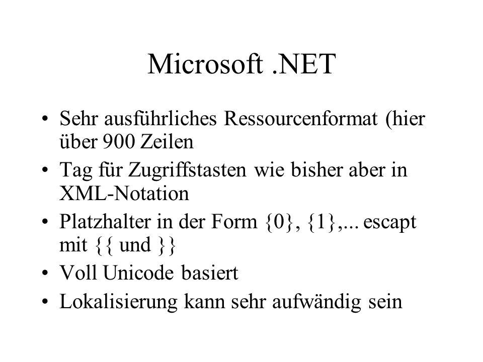 Microsoft .NET Sehr ausführliches Ressourcenformat (hier über 900 Zeilen. Tag für Zugriffstasten wie bisher aber in XML-Notation.