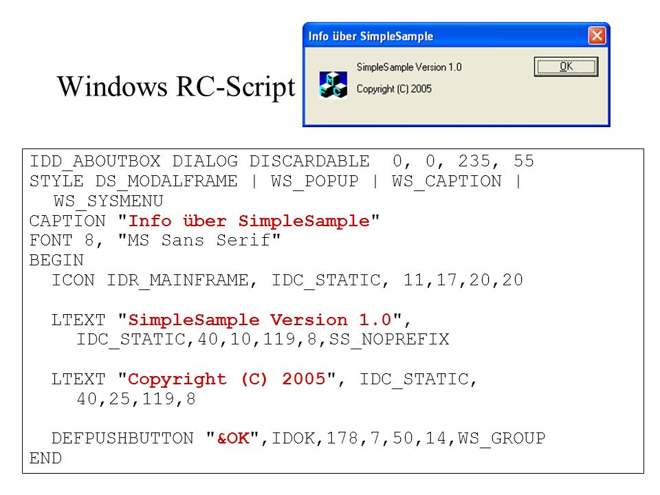 Windows RC-Script IDD_ABOUTBOX DIALOG DISCARDABLE 0, 0, 235, 55