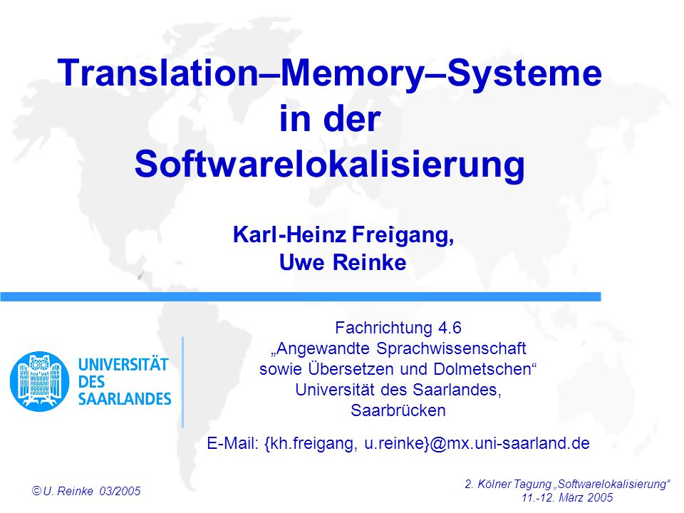 Translation–Memory–Systeme in der Softwarelokalisierung