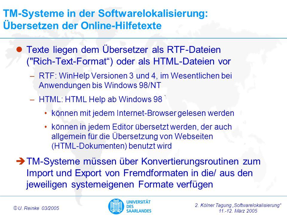 TM-Systeme in der Softwarelokalisierung: Übersetzen der Online-Hilfetexte