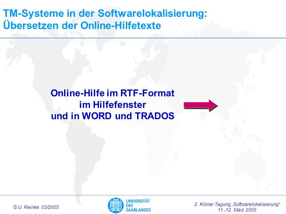 Online-Hilfe im RTF-Format im Hilfefenster und in WORD und TRADOS