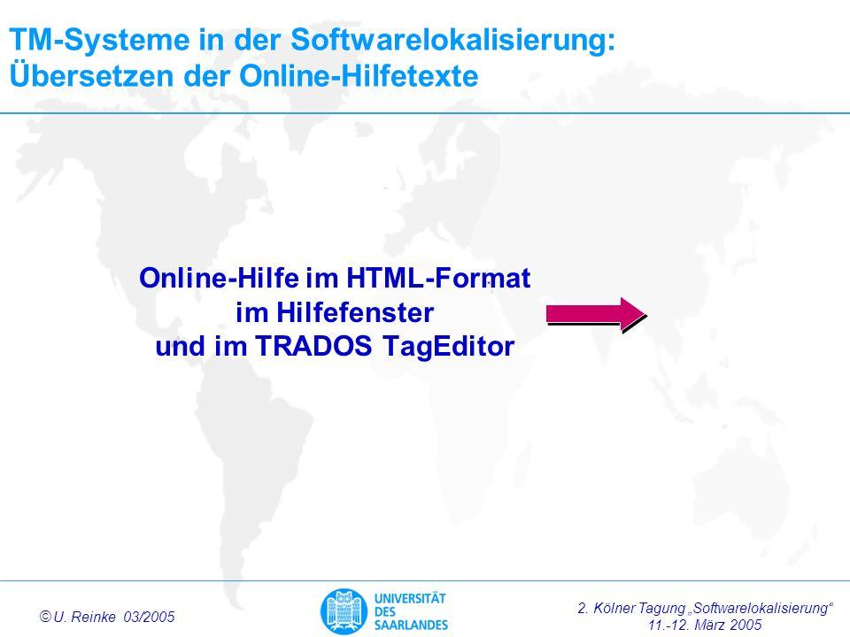 Online-Hilfe im HTML-Format im Hilfefenster und im TRADOS TagEditor