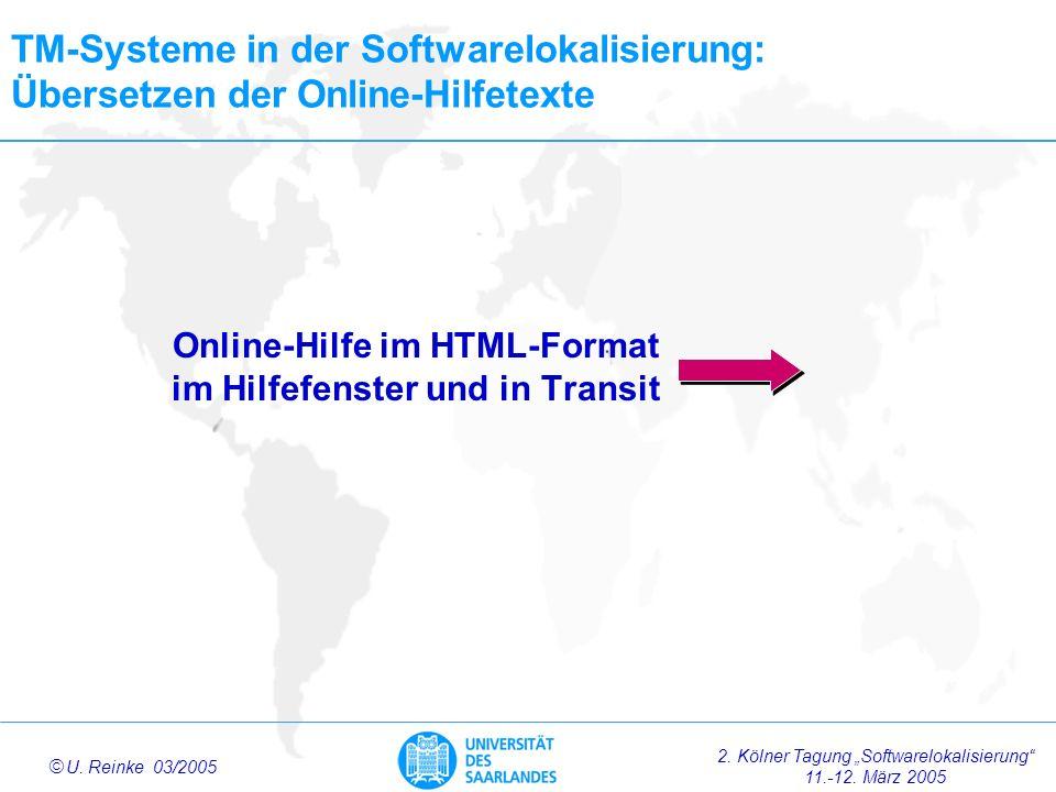 Online-Hilfe im HTML-Format im Hilfefenster und in Transit