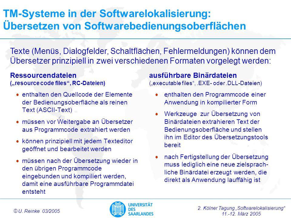 TM-Systeme in der Softwarelokalisierung: Übersetzen von Softwarebedienungsoberflächen
