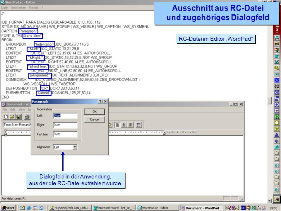 Ausschnitt aus RC-Datei und zugehöriges Dialogfeld