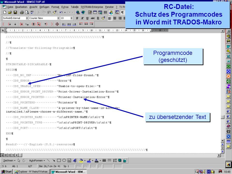 RC-Datei: Schutz des Programmcodes in Word mit TRADOS-Makro