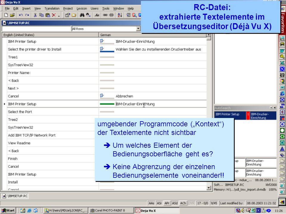 RC-Datei: extrahierte Textelemente im Übersetzungseditor (Déjà Vu X)
