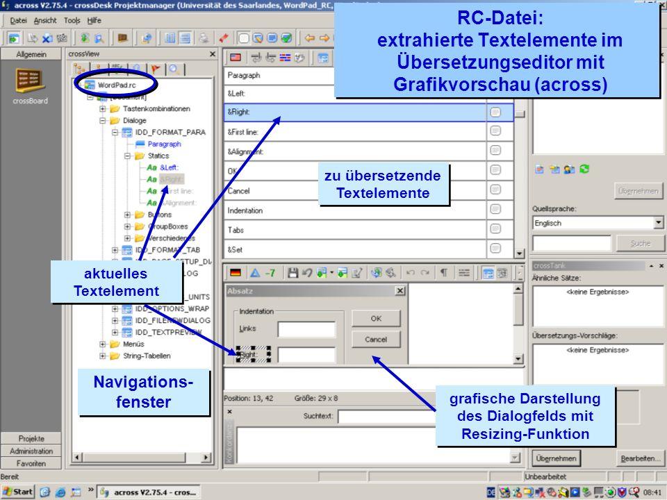 RC-Datei: extrahierte Textelemente im Übersetzungseditor mit Grafikvorschau (across)