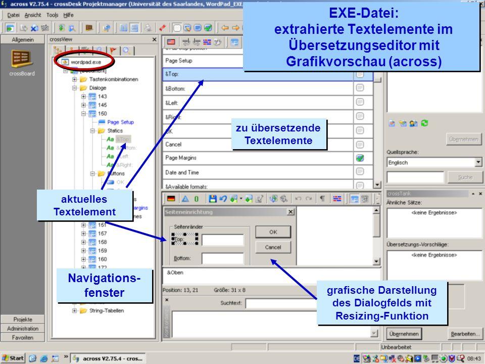 EXE-Datei: extrahierte Textelemente im Übersetzungseditor mit Grafikvorschau (across)