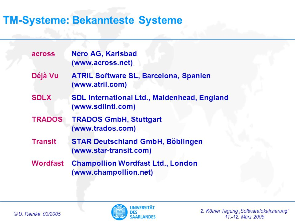 TM-Systeme: Bekannteste Systeme