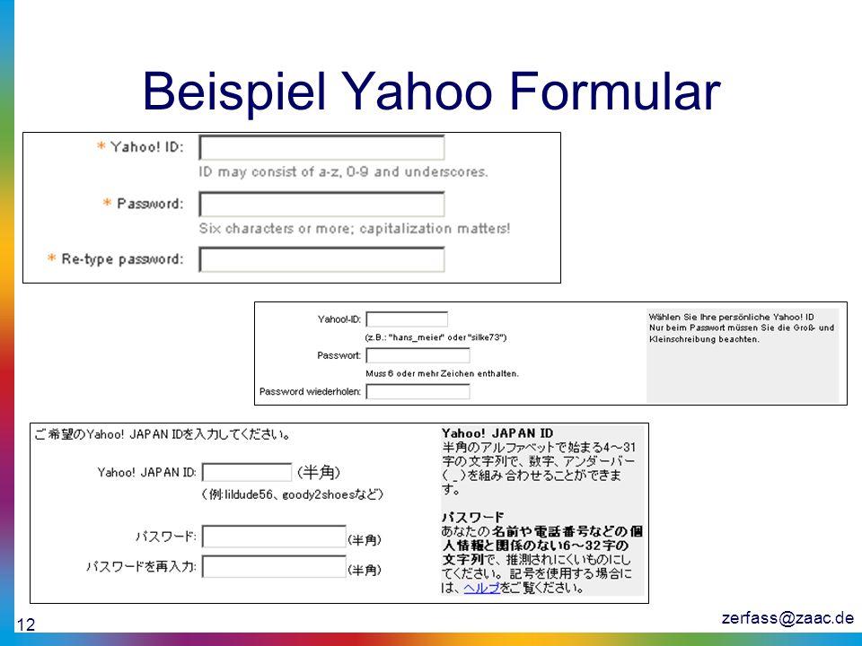 Beispiel Yahoo Formular