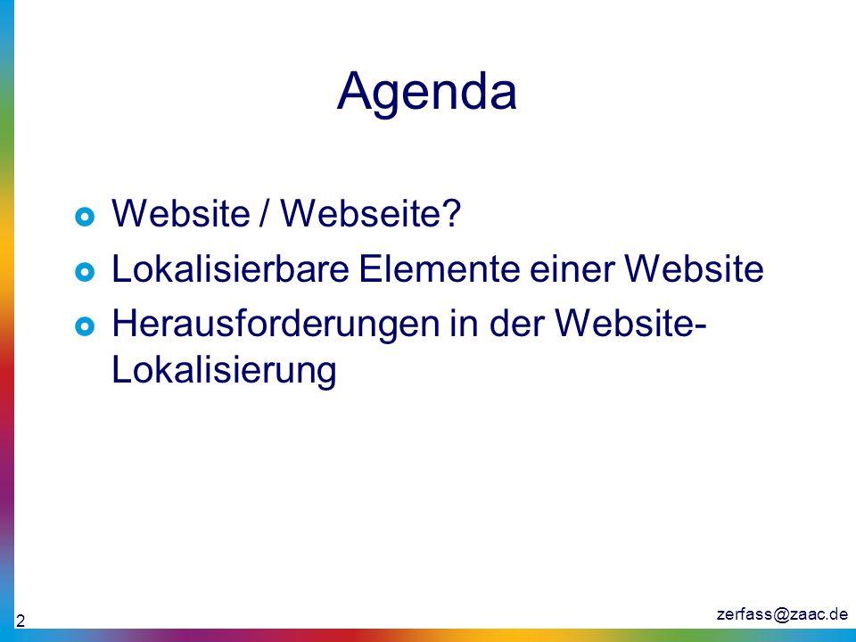 Agenda Website / Webseite Lokalisierbare Elemente einer Website
