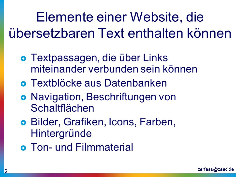 Elemente einer Website, die übersetzbaren Text enthalten können