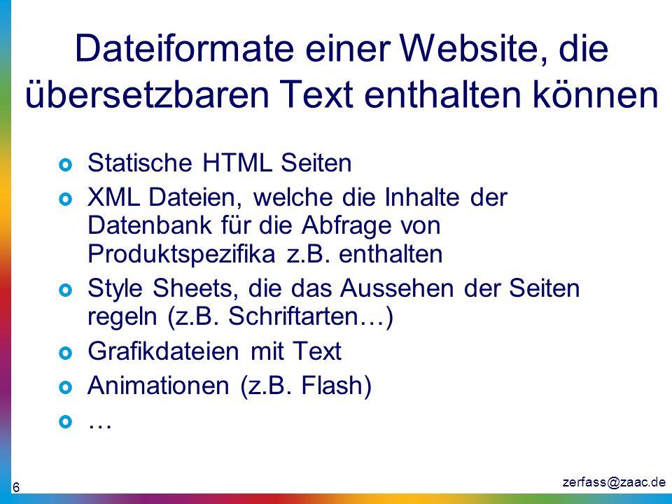 Dateiformate einer Website, die übersetzbaren Text enthalten können