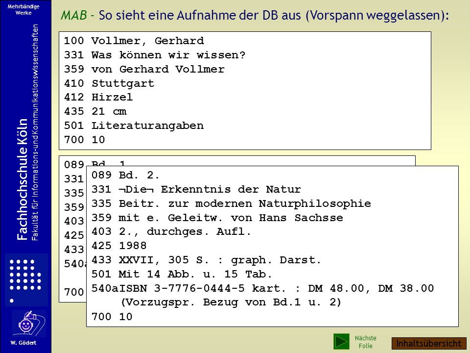MAB - So sieht eine Aufnahme der DB aus (Vorspann weggelassen):
